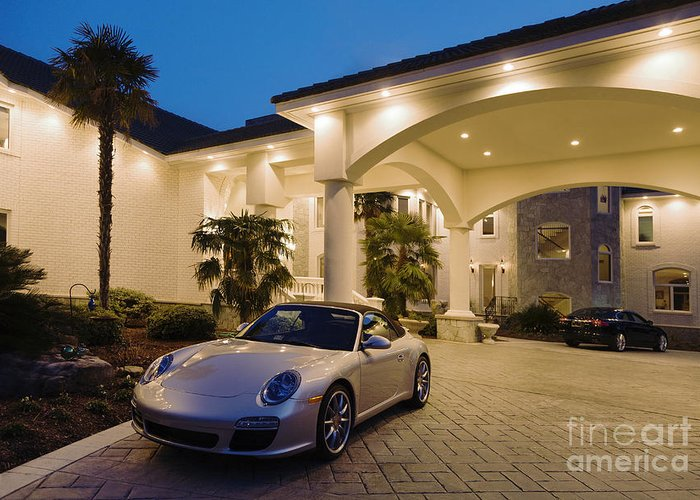 Affluence Greeting Card featuring the photograph Porsche Parked At Mansion by Roberto Westbrook