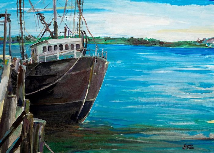 Fishing Boat Greeting Card featuring the painting Portland Harbor - Home Again by Scott Nelson