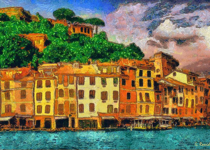 Rossidis Greeting Card featuring the painting Portofino II by George Rossidis