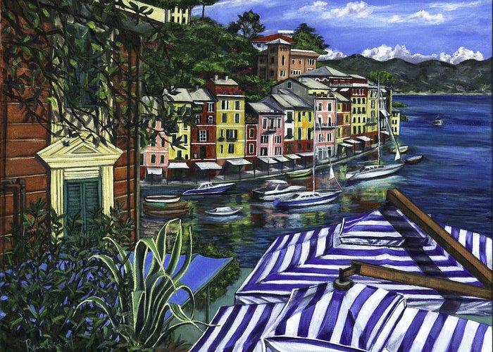 Portofino Greeting Card featuring the painting Portofino by Lisa Reinhardt