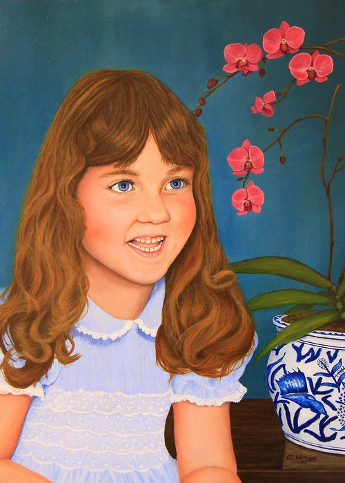 Portrait Greeting Card featuring the painting Portrail Of A Young Girl by Jim Ziemer
