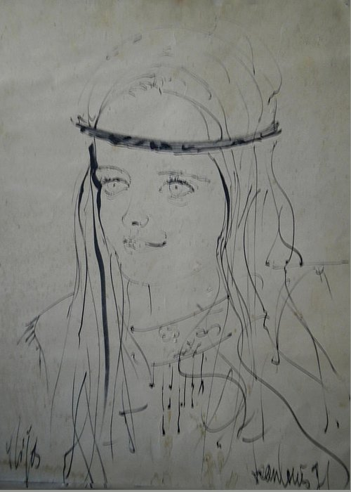 Colette Greeting Card featuring the drawing Portrait 1971 Colette by Colette V Hera Guggenheim
