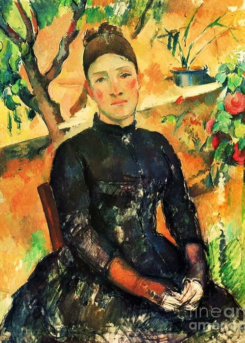 Pd Greeting Card featuring the painting Portrait Madame Cezanne by Pg Reproductions