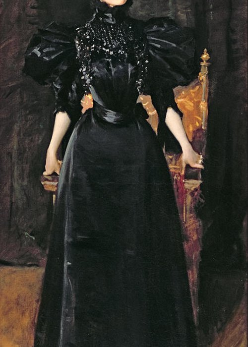 Portrait Greeting Card featuring the painting Portrait Of A Lady In Black by William Merritt Chase