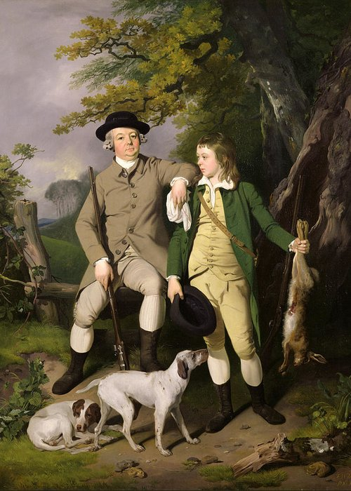Portrait Greeting Card featuring the painting Portrait Of A Sportsman With His Son by Francis Wheatley