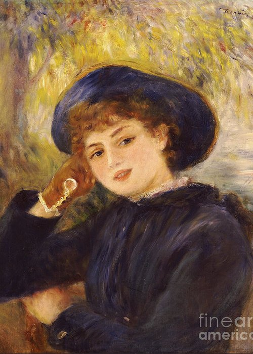 Impressionist; Impressionism; Female; Half Length; Portrait Greeting Card featuring the painting Portrait Of Mademoiselle Demarsy by Pierre Auguste Renoir