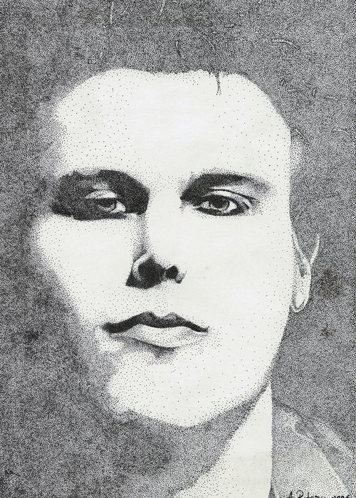 Ville Valo Greeting Card featuring the drawing Portrait Of Ville Valo by Alice Rotaru