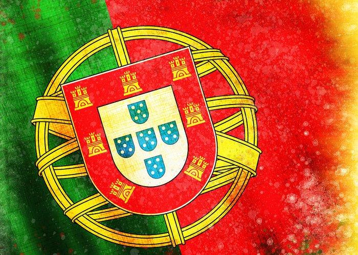 Chalk Greeting Card featuring the painting Portugal Flag by Setsiri Silapasuwanchai