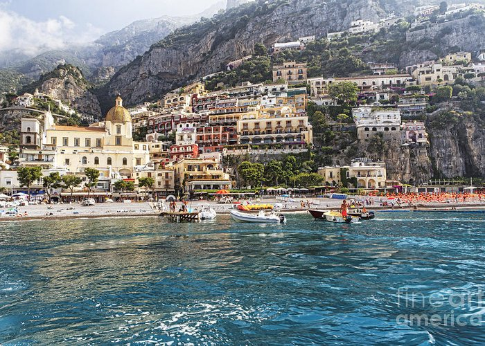 Positano Greeting Card featuring the photograph Positano Seaside View by George Oze