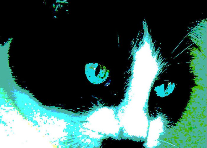Black And White Kitty Greeting Card featuring the painting Poster Kitty by Elinor Mavor