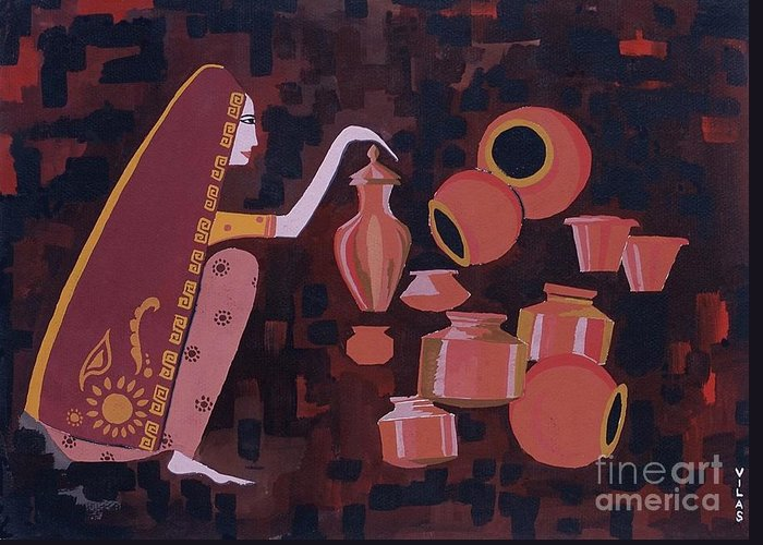 Potter Woman Pots Creations Shapes Brown Earthen Design Forms Greeting Card featuring the painting Potter by Vilas Malankar