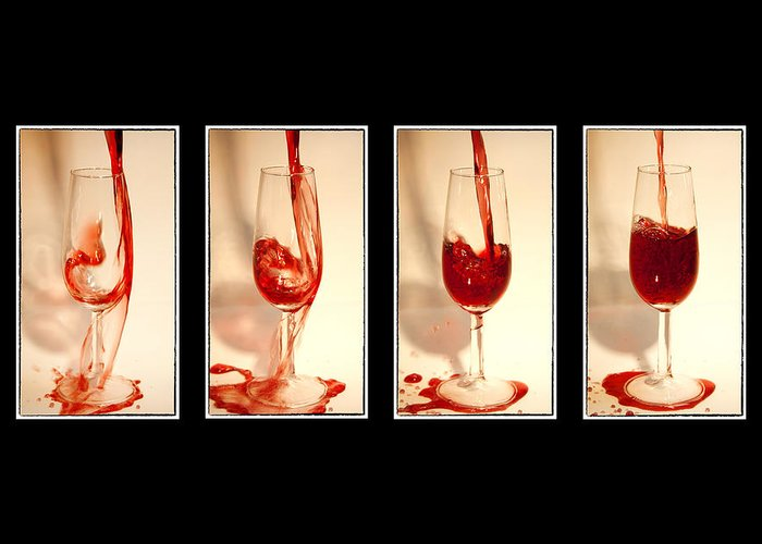 Abstract Greeting Card featuring the photograph Pouring Red Wine by Svetlana Sewell