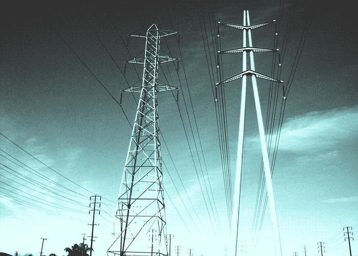Power Lines Greeting Card featuring the photograph Power Lines by Jay Reed