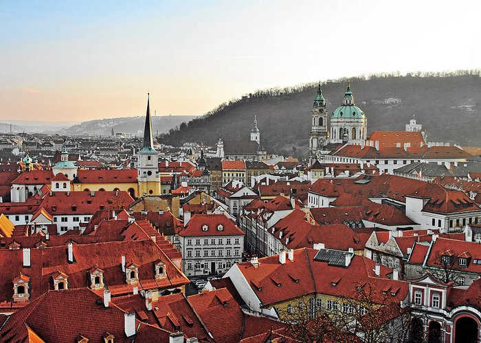 Roofs Greeting Card featuring the photograph Prague - A Story Told By Rooftops by Christine Till