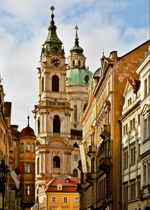 St Nicholas Church Greeting Card featuring the photograph Prague - St. Nicholas Church Lesser Town by Christine Till