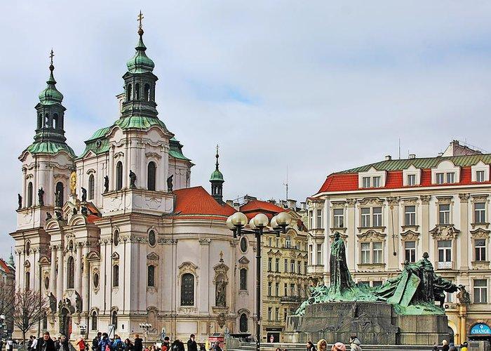 St Nicholas Church Greeting Card featuring the photograph Prague - St Nicholas Church Old Town Square by Christine Till