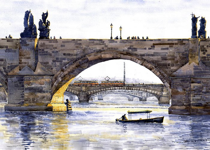 Watercolor Greeting Card featuring the painting Prague Bridges by Yuriy Shevchuk