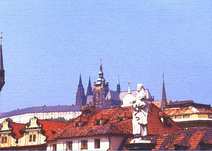 Steve Huang Greeting Card featuring the digital art Prague Castle by Steve Huang