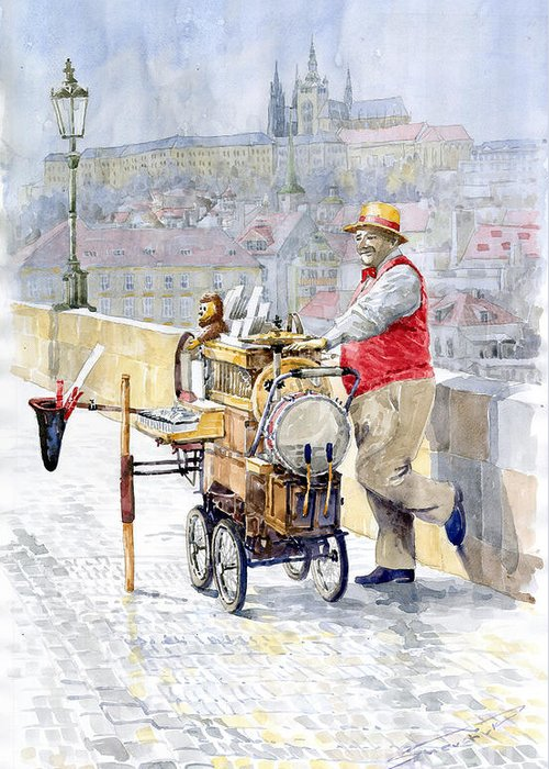 Watercolor Greeting Card featuring the painting Prague Charles Bridge Organ Grinder-seller Happiness by Yuriy Shevchuk