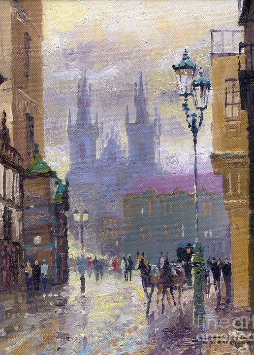 Oil On Canvas Greeting Card featuring the painting Prague Old Town Square by Yuriy Shevchuk