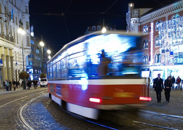 Blur Greeting Card featuring the photograph Prague Tram by Stelios Kleanthous