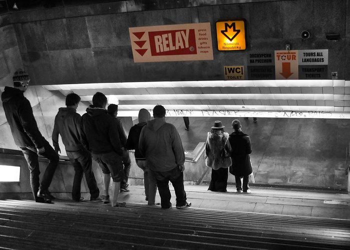 Abstract Greeting Card featuring the photograph Prague Underground Station Stairs by Stelios Kleanthous