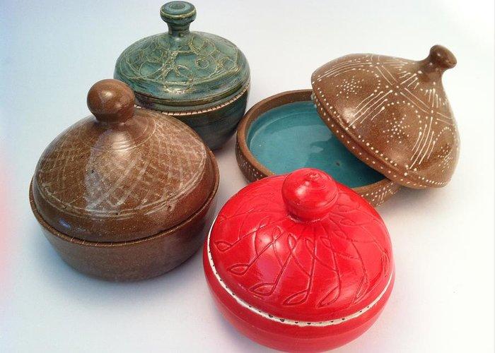 Art Greeting Card featuring the ceramic art Prayer Pots by Carolyn Coffey Wallace