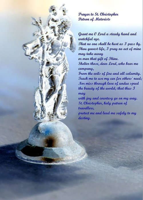 Prayer Greeting Card featuring the mixed media Prayer To St Christopher by Maria Urso