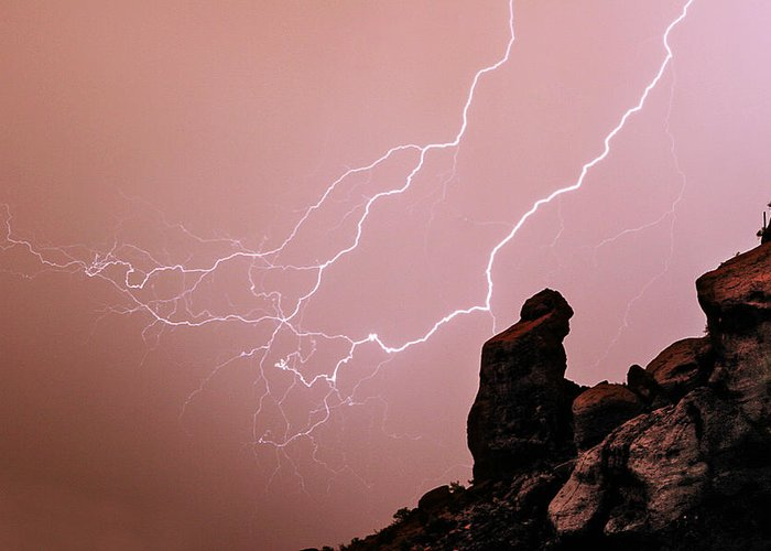 'praying Monk' Greeting Card featuring the photograph Praying Monk Camelback Mountain Lightning Monsoon Storm Image by James BO Insogna