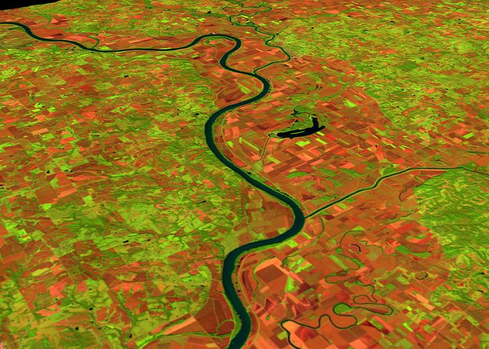 Satellite Image Greeting Card featuring the photograph Pre-flood Missouri River by Nasagoddard Space Flight Center