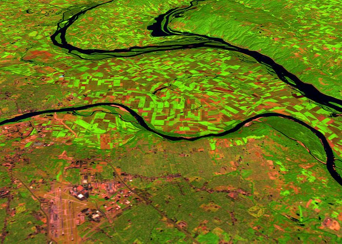Satellite Image Greeting Card featuring the photograph Pre-flood Rivers by Nasagoddard Space Flight Center