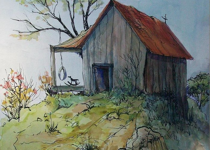 Landscape Greeting Card featuring the painting Precarious by Judith A Smothers