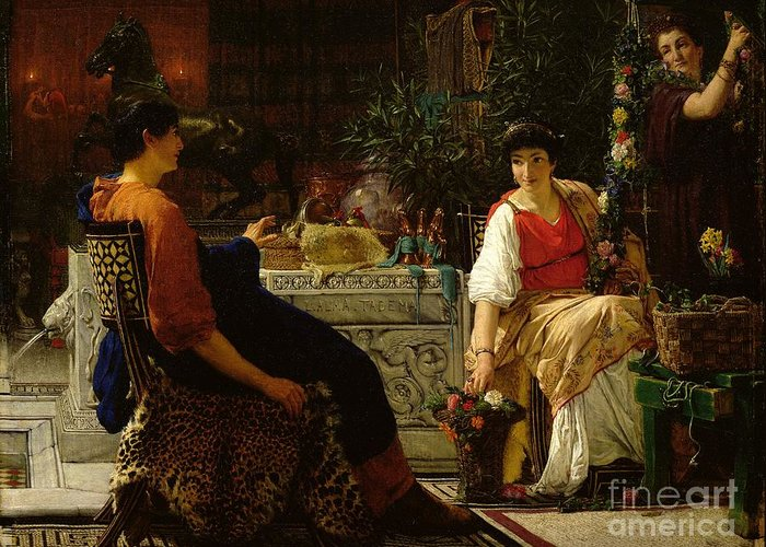 Preparations Greeting Card featuring the painting Preparations For The Festivities by Sir Lawrence Alma-Tadema