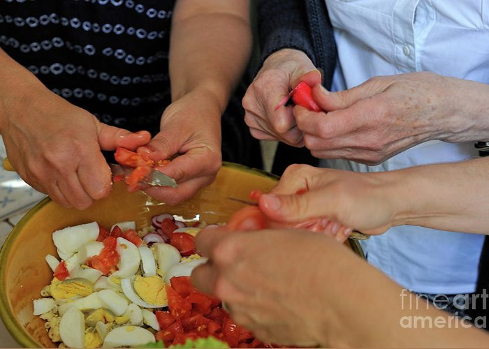 People Greeting Card featuring the photograph Preparing Salad by Sami Sarkis