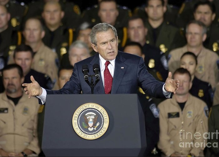 Horizontal Greeting Card featuring the photograph President George W. Bush Speaks by Stocktrek Images
