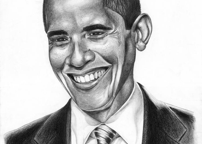 Barack Greeting Card featuring the drawing Presidential Smile by Jeff Stroman