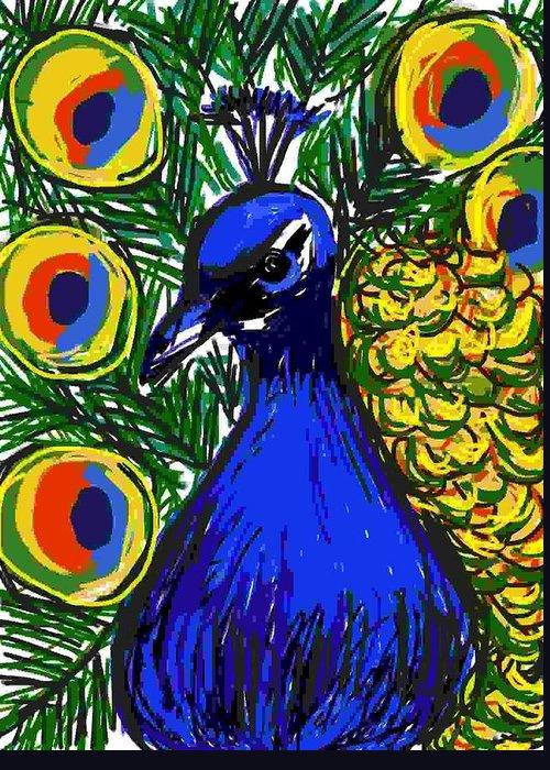 Animal Greeting Card featuring the digital art Pretty Peacock by Caroline Lifshey