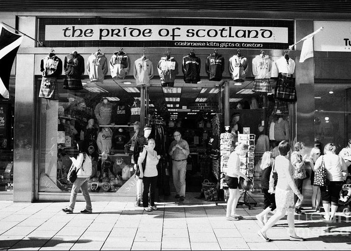 Pride Greeting Card featuring the photograph Pride Of Scotland Scottish Gifts Shop Princes Street Edinburgh Scotland Uk United Kingdom by Joe Fox
