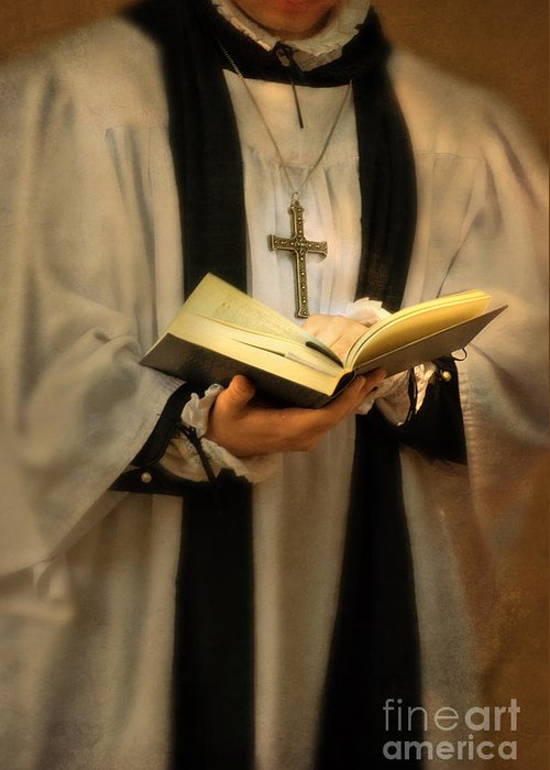 Priest Greeting Card featuring the photograph Priest With Open Bible by Jill Battaglia