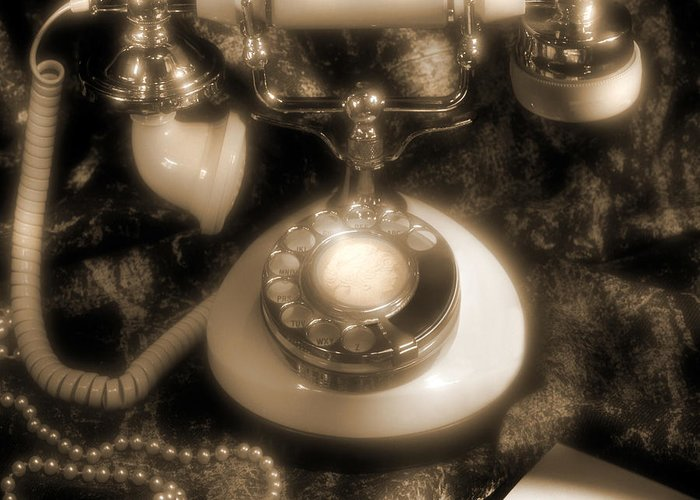 Vintage Look Greeting Card featuring the photograph Princess Phone by Mike McGlothlen