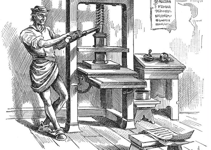 1639 Greeting Card featuring the photograph Printing Press, 1639 by Granger