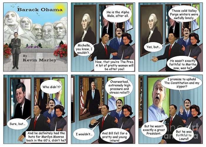 Barack Obama Greeting Card featuring the digital art Promise To Uphold The Constitution And My Zipper by Kevin Marley