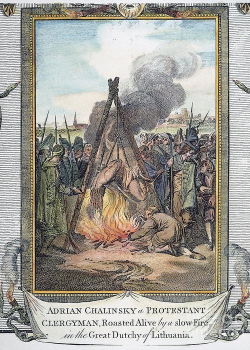 1563 Greeting Card featuring the photograph Protestant Martyrs, 1563 by Granger