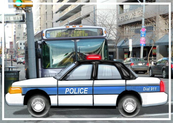 Police Greeting Card featuring the painting Proud Police Car In The City by Elaine Plesser