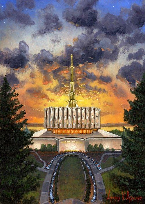 Jeff Greeting Card featuring the painting Provo Temple Evening by Jeff Brimley