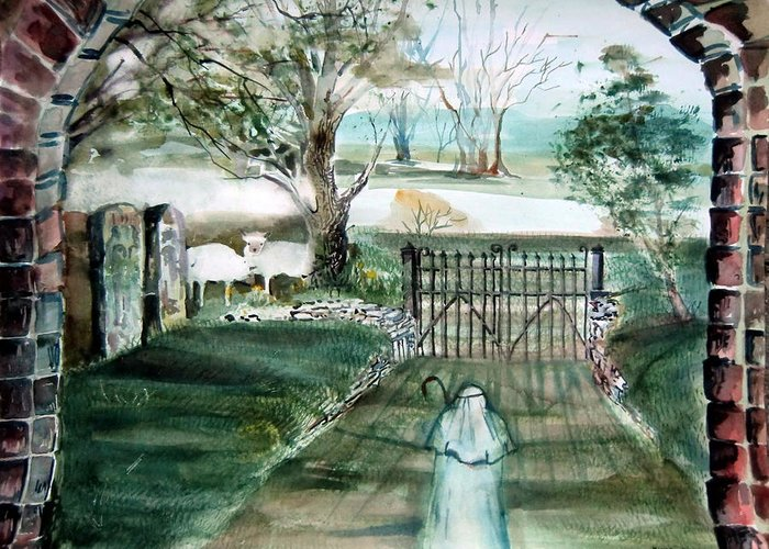 Pastoral Greeting Card featuring the painting Psalm 23 by Mindy Newman