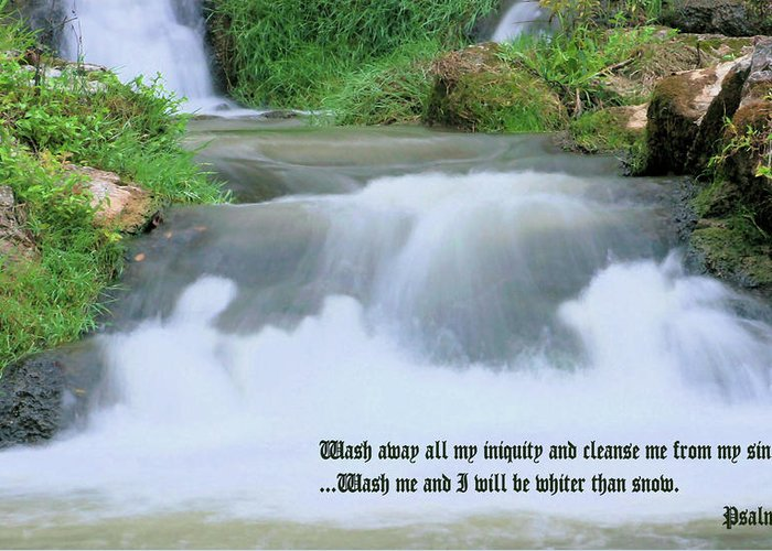 Waterfall Greeting Card featuring the photograph Psalm 51 2 by Kristin Elmquist