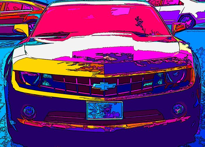Chevrolet Greeting Card featuring the photograph Psychedelic Camaro by Samuel Sheats