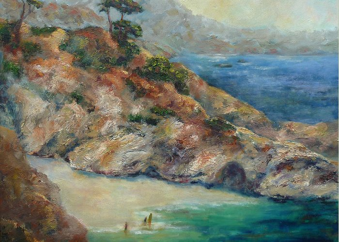 Pt Lobos Greeting Card featuring the painting Pt Lobos View by Carolyn Jarvis