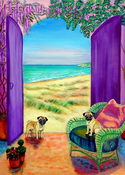 Pug Dog Greeting Card featuring the painting Pug Dreams by Lyn Cook